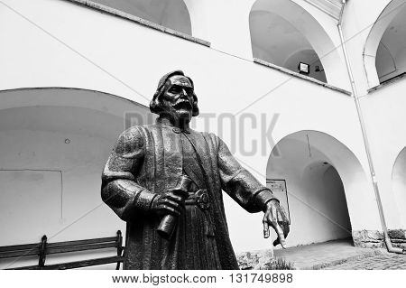 Mukachevo,ukraine - April 11,2016: Statue Of Prince Podolsky Fedir Koryatovych (1331-1414) In Castle