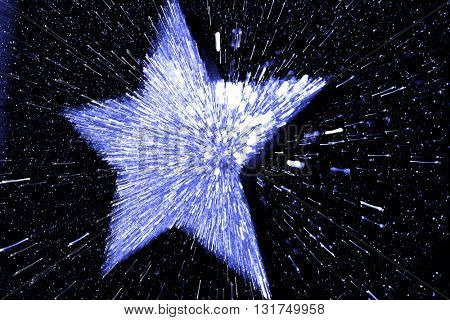 ABSTRACT SPEED EFFECT BLUE STAR ON  BLACK BACKGROUND