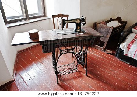 Mukachevo,ukraine - April 11,2016: The Old Vintage Sewing Machine Singer