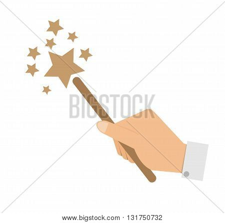 Vector illustration in eps 10 format hand with a magic wand