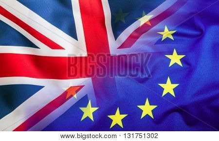 Flags of the United Kingdom and the European Union. UK Flag and EU Flag. British Union Jack flag.