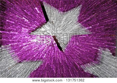 ABSTRACT SPEED EFFECT SILVER STAR ON PURPLE  BACKGROUND