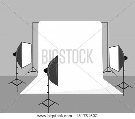 Illustration with photo studio equipment isolated on white.