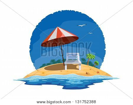 Vector illustration of beach chairs on the summer beach