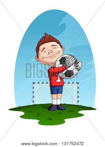 Happy young football goalkeeper holding the ball