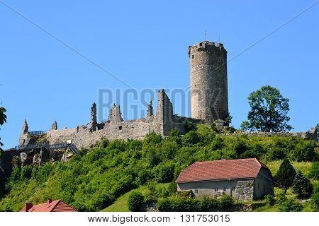 beautifully landscaped castle ruin Waxenberg - austria