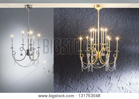 Chrome and Gold, candle - like, glass crystal, Chandelier Ceiling Lights