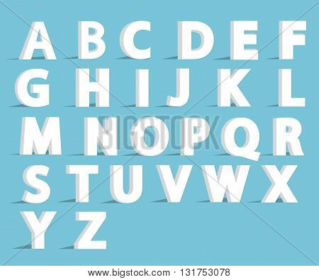 3d alphabet font with flat long shadow effect. Vector illustration. Alphabet vector.Vector Alphabet isolated