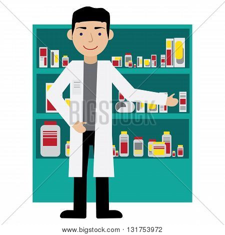 Male pharmacist in a pharmacy in front of the shelves with medicines. Health care. Flat Vector illustration.