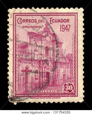 Ecuador - CIRCA 1947: A stamp printed in Ecuador shows facade of the Jesuit Church, Quito, Ecuador, circa 1947