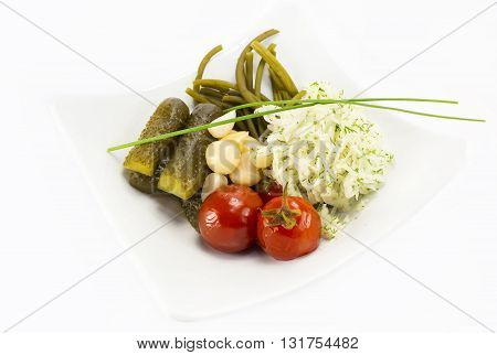 pickled vegetables, cucumber tomatoes asparagus and garlic cabbage