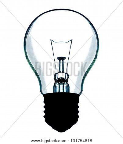 light bulb incandescent lamp shape sign on white background