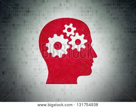 Studying concept: Painted red Head With Gears icon on Digital Data Paper background