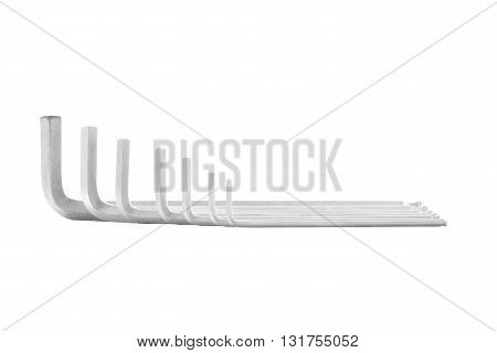 Hexagonal key steel tool for repair isolated on white background