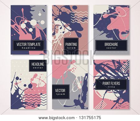 Brochure template design set with pastel strokes and colorful acrylic paint drips. Vector illustration. Grunge vintage cards, retro style poster or flyer.
