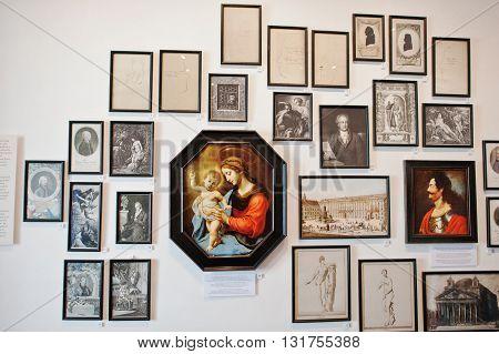 Mukachevo,ukraine - April 11,2016: Art Gallery. Madonna At Center Of Composition