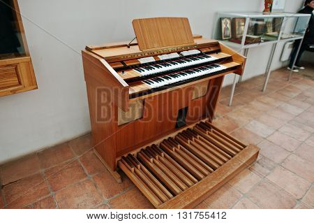 Mukachevo,ukraine - April 11,2016: Old Ahlborn Piano & Organ
