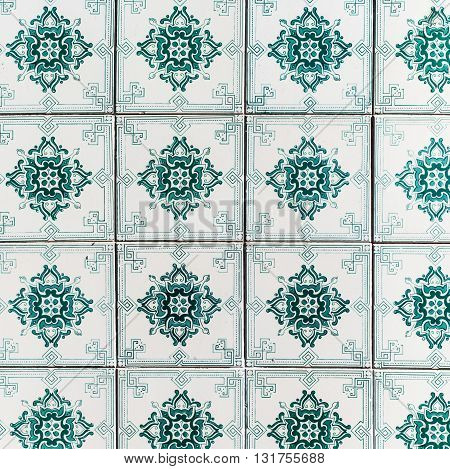 Beautiful Art Texture / Traditional ornate portuguese decorative tiles azulejos / Abstract colorful wall background.