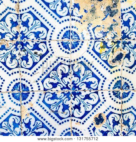 Traditional ornate portuguese decorative tiles azulejos. Indigo Blue Tiles Floor Ornament Collection.