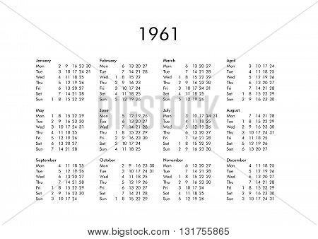 Calendar Of Year 1961
