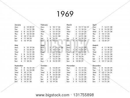 Calendar Of Year 1969