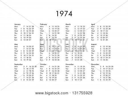 Calendar Of Year 1974