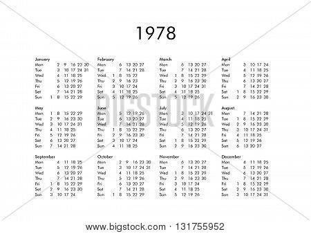 Calendar Of Year 1978
