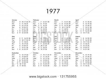 Calendar Of Year 1977
