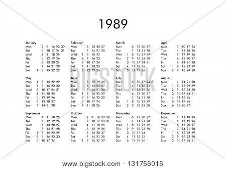 Calendar Of Year 1989