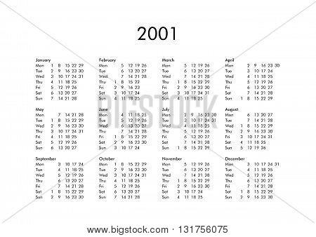 Calendar Of Year 2001