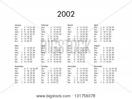 Calendar Of Year 2002