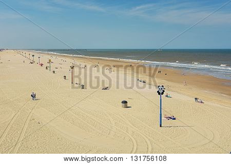 Landmarks on the beach in Scheveningen Netherlands.