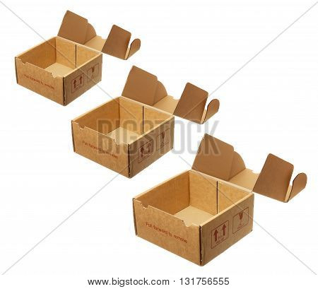 Row of Cardboard Boxes on White Background