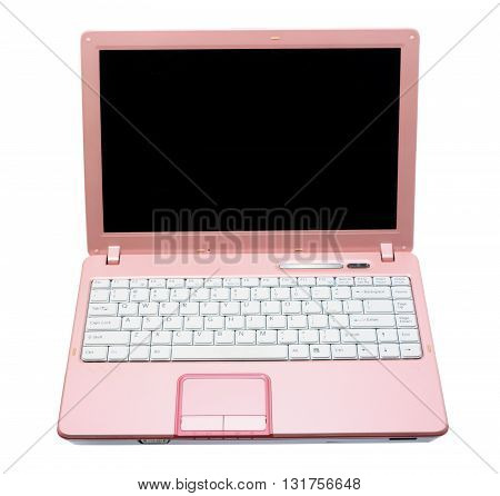 Pink Laptop Computer on Isolated White Background