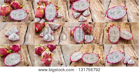 Set of fresh dragon fruit on wooden table background