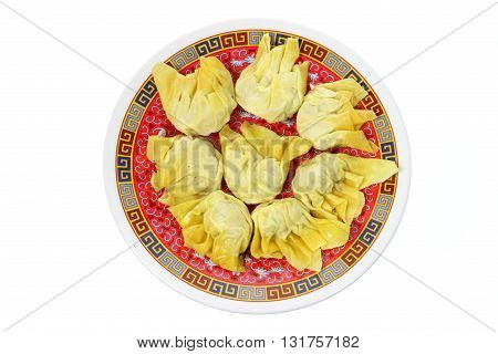 Plate of Chinese Dumplings on White Background