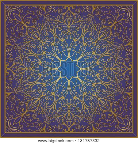 Seamless vector blue background with contour element. Chic oriental ornament. Template for fabric wallpaper textiles bedcover carpet tile shawl. Stylized colorful baroque pattern.