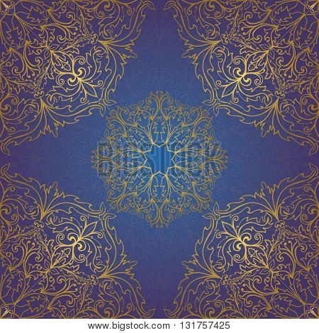 Seamless vector blue background with contour element. Chic ornament with mandalas. Template for fabric wallpaper textiles bedcover carpet tile shawl cushion. Stylized colorful baroque pattern.