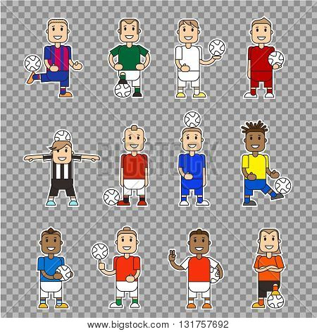 Set character soccer players football team standing isolated. Vector flat illustration football player posing with the ball in different team uniforms. Ball in hands hits ball with foot.
