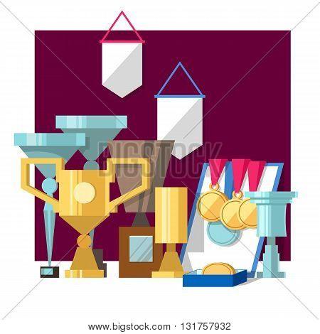 Vector illustration of set of awards medals diplomas and award certificate. Gold and silver cups award trophy and medals for the winner