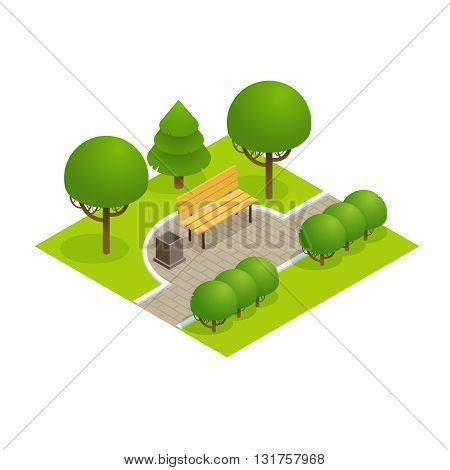Park concept with trees bench and sidewalk in 3d flat isometric style. Vector illustration.