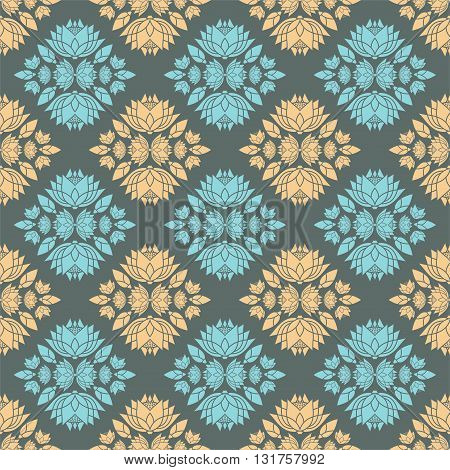 diamonds seamless pattern lotus decorative ornament design