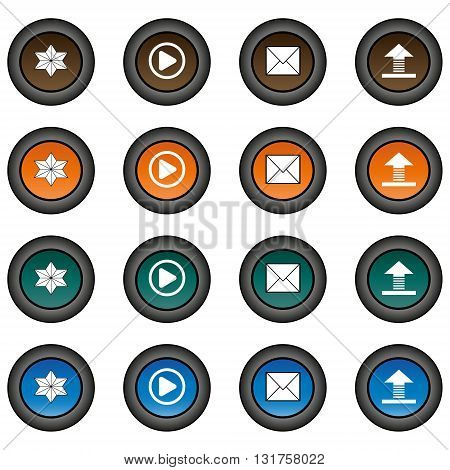 Collection of 16 isolated multicolor buttons (icons) - star button, play button, envelope button, upload button