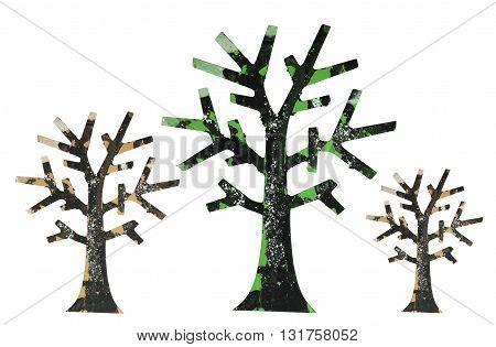 Row of Miniature Trees on White Background