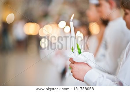 Lviv, Ukraine - May 8, 2016: The Ceremony Of A First Communion In The Church Of St. Peter The Great