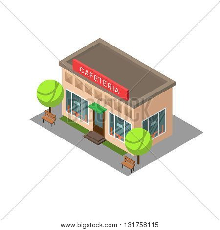 Vector isometric building cafeteria. Isometric icon or infographic element cafeteria on white background.
