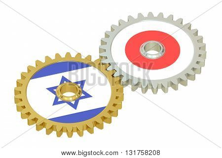 Israel and Japan relations concept flags on a gears. 3D rendering isolated on white background