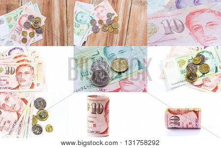 Singapore money on wooden table background various of singapore dollar banknote