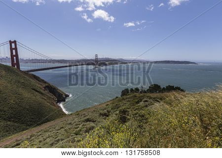 Clear spring morning at Golden Gate National Recreation Area near San Francisco, California.