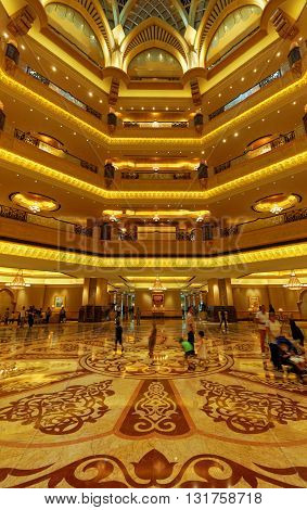 ABU DHABI, 30 MARCH 2016. Editorial Photograph of the Lobby of the Emirates Palace Hotel.  Offering luxurious surroundings and hospitality, the hotel has been described as a 7 star facility